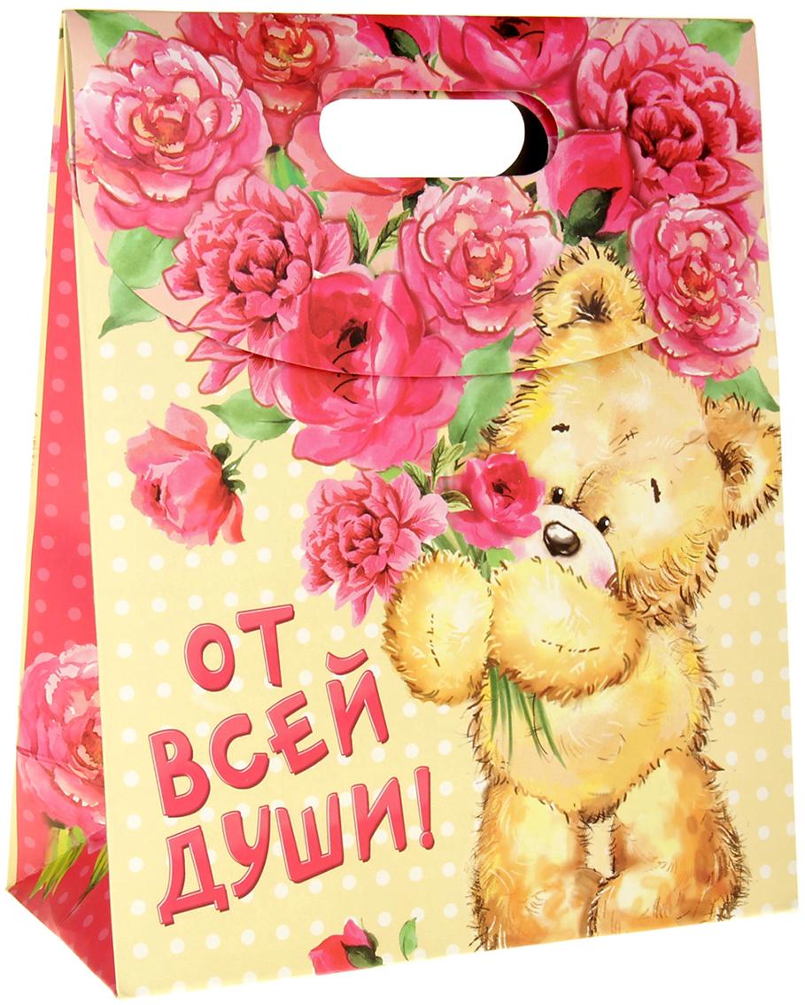 Пакет подарочный Дарите Счастье Мишка с букетом, с клапаном, цвет: мультиколор, 12 х 26 х 32 см. 838395 пакет открытка подарочный дарите счастье я твой сюрприз цвет мультиколор 16 8 х 19 см 565327