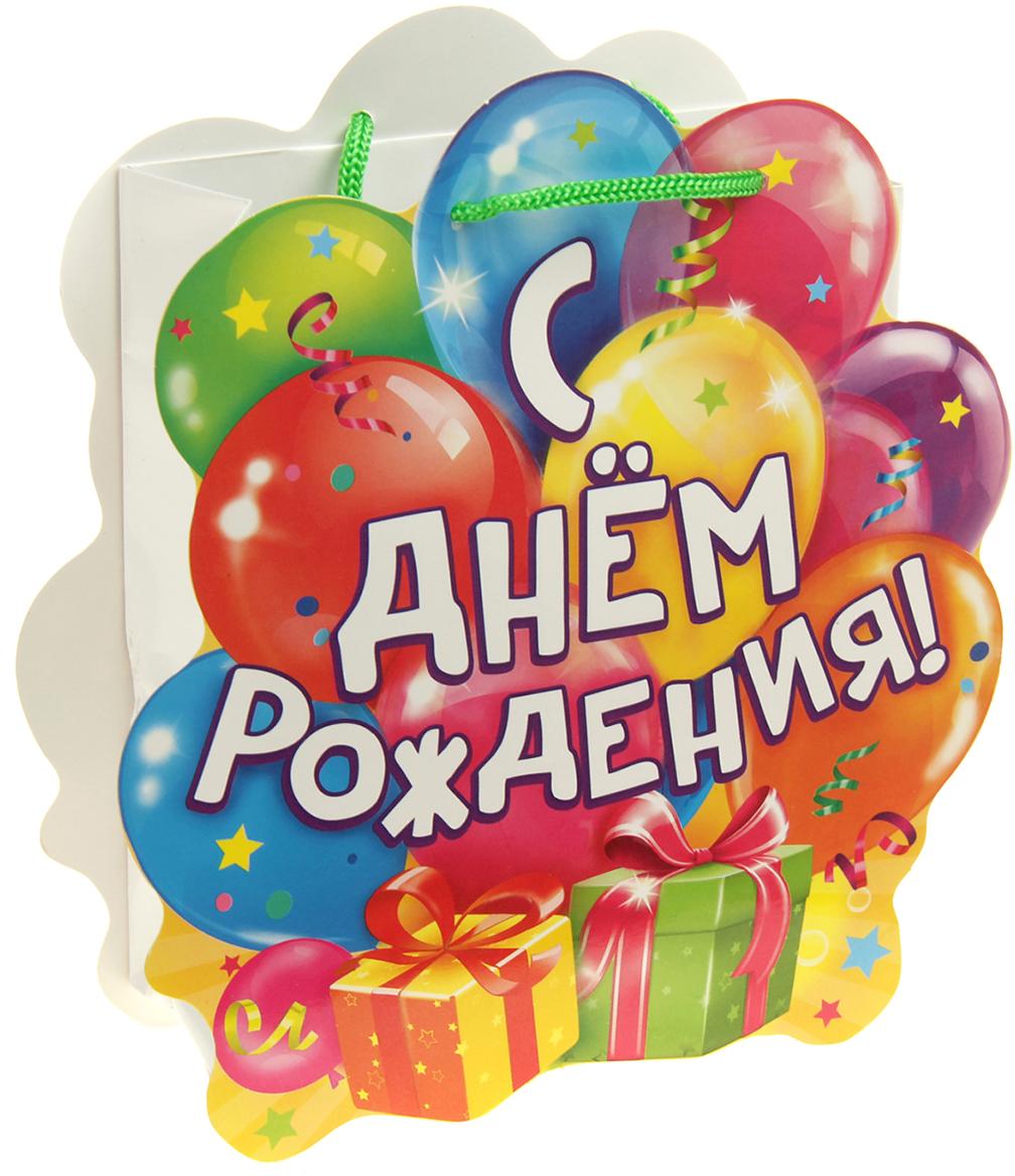 Пакет-открытка подарочный Дарите Счастье Шарики, цвет: мультиколор, 6 х 12 х 15 см. 838907838907Фигурный пакет - это подарочная упаковка 2 в 1. Пакет, выполненный из плотной бумаги 180 г/м2, и открытка с фигурной вырубкой, приклеенная сверху. Удивляйте не только подарком, но и его оформлением!
