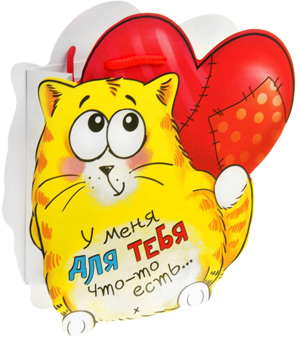 Пакет-открытка подарочный Дарите Счастье Котэ влюблен, цвет: мультиколор, 6 х 12 х 15 см. 849262 пакет открытка подарочный дарите счастье я твой сюрприз цвет мультиколор 16 8 х 19 см 565327