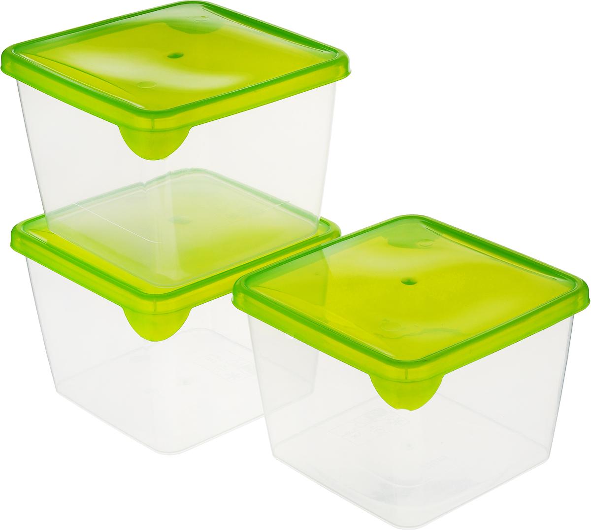 """Комплект емкостей для продуктов Giaretti """"Браво"""", цвет: прозрачный, салатовый, 750 мл, 3 шт"""