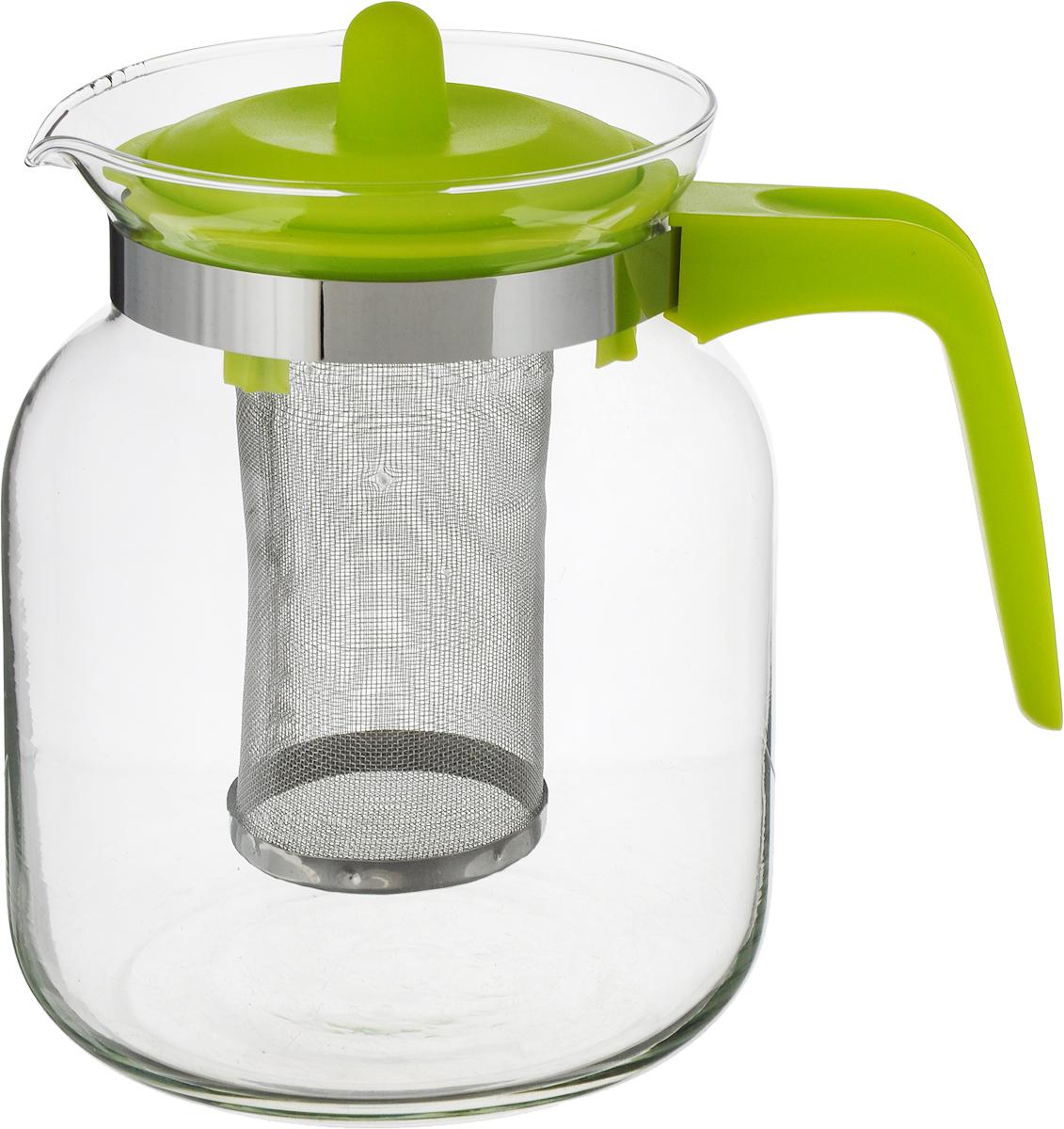 Чайник заварочный Mayer & Boch, цвет: прозрачный, зеленый, 1,45 л. 26808