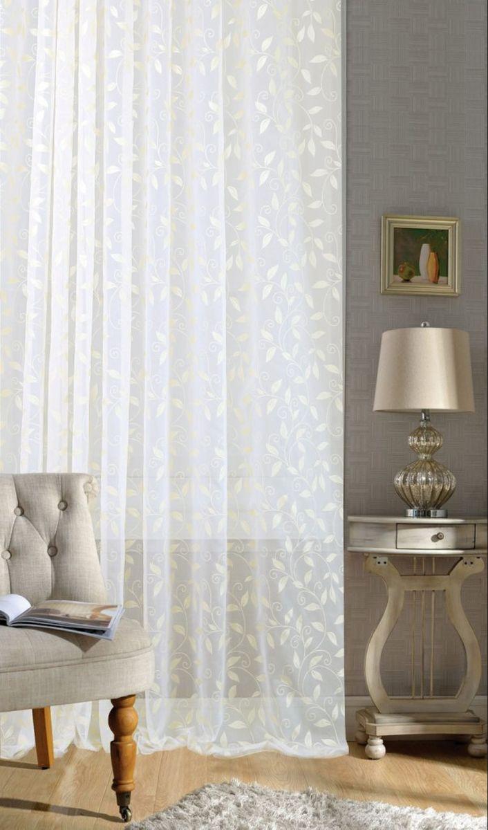 Изящная тюлевая штора Garden выполнена из высококачественной вуали. Полупрозрачная ткань и приятный цвет привлекут к себе внимание и органично впишутся в интерьер помещения. Такая штора идеально подходит для солнечных комнат. Мягко рассеивая прямые лучи, она хорошо пропускает дневной свет и защищает от посторонних глаз.  Штора крепится на карниз при помощи ленты, которая поможет красиво и равномерно задрапировать верх.