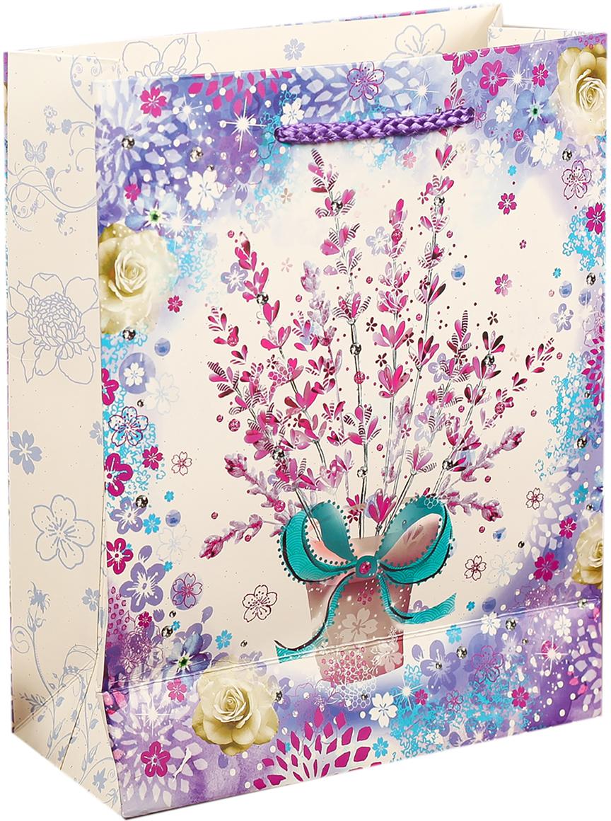 Пакет подарочный Люкс. Весенние цветы. Лаванда, цвет: мультиколор, 18 х 23 х 8 см. 27484292748429Любой подарок начинается с упаковки. Что может быть трогательнее и волшебнее, чем ритуал разворачивания полученного презента. И именно оригинальная, со вкусом выбранная упаковка выделит ваш подарок из массы других. Она продемонстрирует самые теплые чувства к виновнику торжества и создаст сказочную атмосферу праздника. Пакет подарочный Весенние цветы - это то, что вы искали.