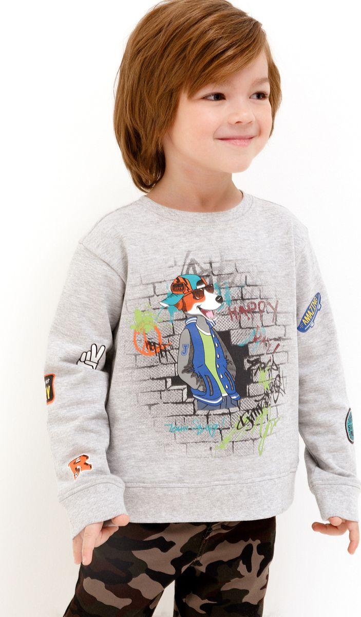 Фото Свитшот для мальчика Acoola, цвет: серый. 20120100127_1900. Размер 128