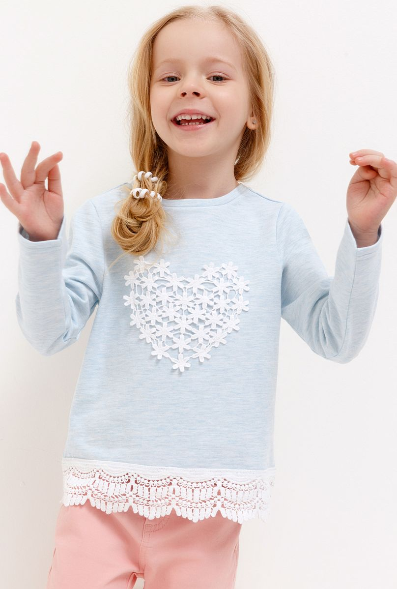 Джемпер для девочки Acoola, цвет: голубой. 20220100156_400. Размер 110 джемперы acoola джемпер для девочек в полоску с кружевной аппликацией цвет ассорти размер 152 20210100173
