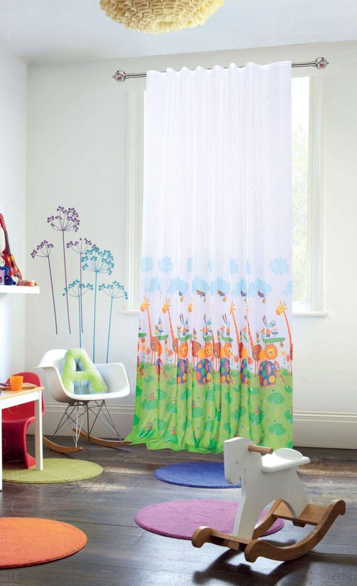 """Штора для детской """"Garden"""", выполнена извыполнена из легкой ткани вуаль. Приятная структура и рисунок привлекут к себе внимание и органично впишутся в интерьер помещения. Штора крепится на карниз при помощи ленты, которая поможет красиво и равномерно задрапировать верх."""