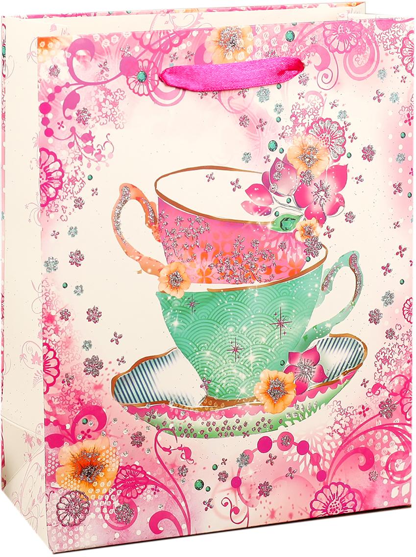 Пакет подарочный Люкс. Весенние цветы и чашки, цвет: мультиколор, 26 х 32 х 10 см. 27484412748441Любой подарок начинается с упаковки. Что может быть трогательнее и волшебнее, чем ритуал разворачивания полученного презента. И именно оригинальная, со вкусом выбранная упаковка выделит ваш подарок из массы других. Она продемонстрирует самые теплые чувства к виновнику торжества и создаст сказочную атмосферу праздника. Пакет подарочный Весенние цветы - это то, что вы искали.