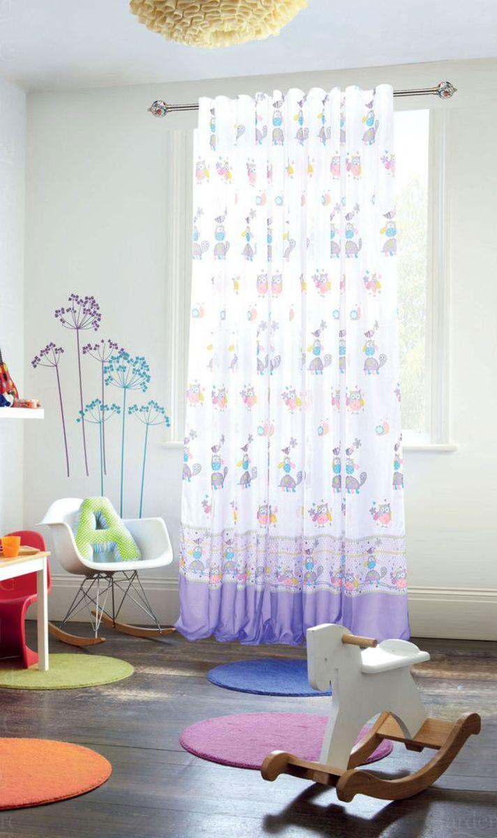 """Штора для детской """"Garden"""", выполнена из легкой ткани вуаль. Приятная структура и рисунок привлекут к себе внимание и органично впишутся в интерьер помещения. Штора крепится на карниз при помощи ленты, которая поможет красиво и равномерно задрапировать верх."""
