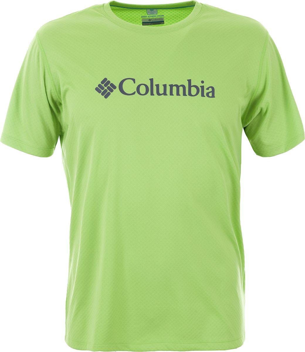 Купить Футболка мужская Columbia Zero Rules Short Sleeve Graphic Shirt, цвет: зеленый. 1533291-351. Размер L (48/50)