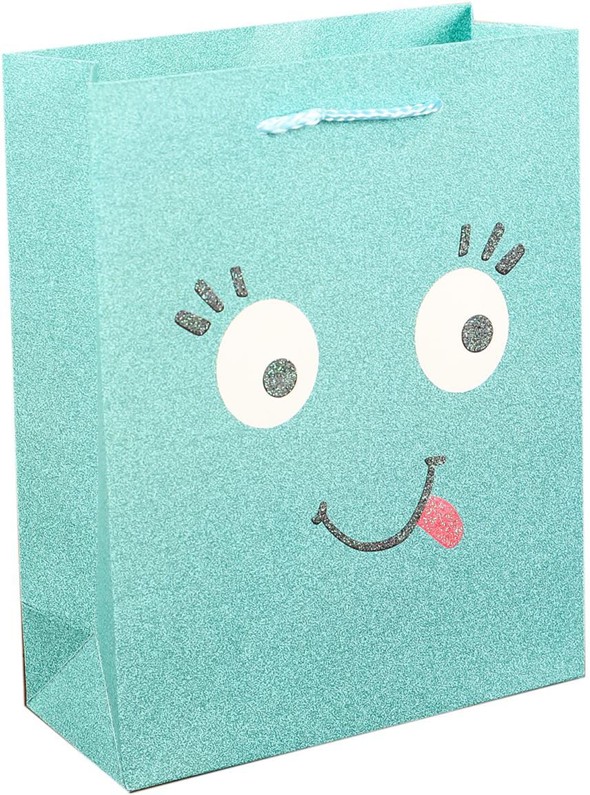 Пакет подарочный Люкс. Смайлики, цвет: зеленый, 26 х 32 х 10 см. 27484422748442Любой подарок начинается с упаковки. Что может быть трогательнее и волшебнее, чем ритуал разворачивания полученного презента. И именно оригинальная, со вкусом выбранная упаковка выделит ваш подарок из массы других. Она продемонстрирует самые теплые чувства к виновнику торжества и создаст сказочную атмосферу праздника. Пакет подарочный Смайлики - это то, что вы искали.