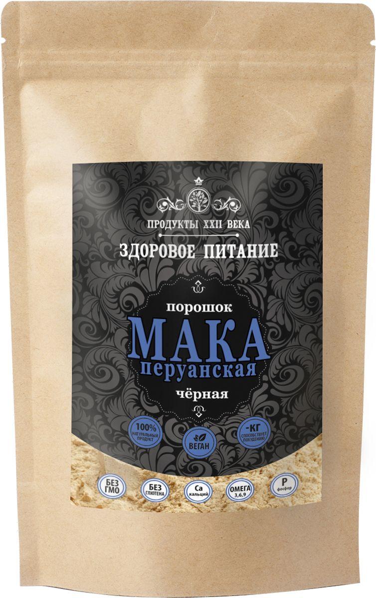Продукты ХХII века мука маки перуанской черной сырая, 100 г продукты ххii века мука бурого льна жмыховая высший сорт 200 г