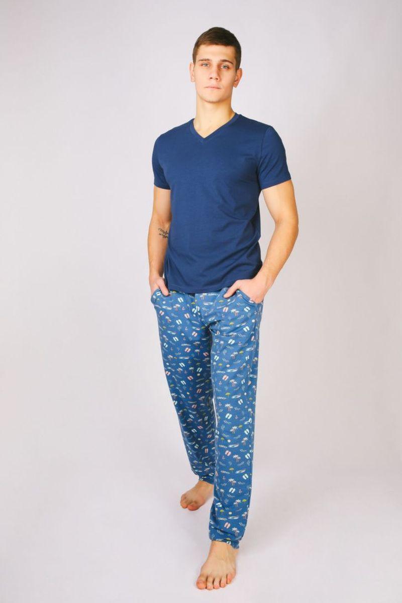 купить Брюки для дома мужские Melado База, цвет: темно-синий. 8100M-50010.1H-735. Размер 56, рост 182-188 по цене 1599 рублей