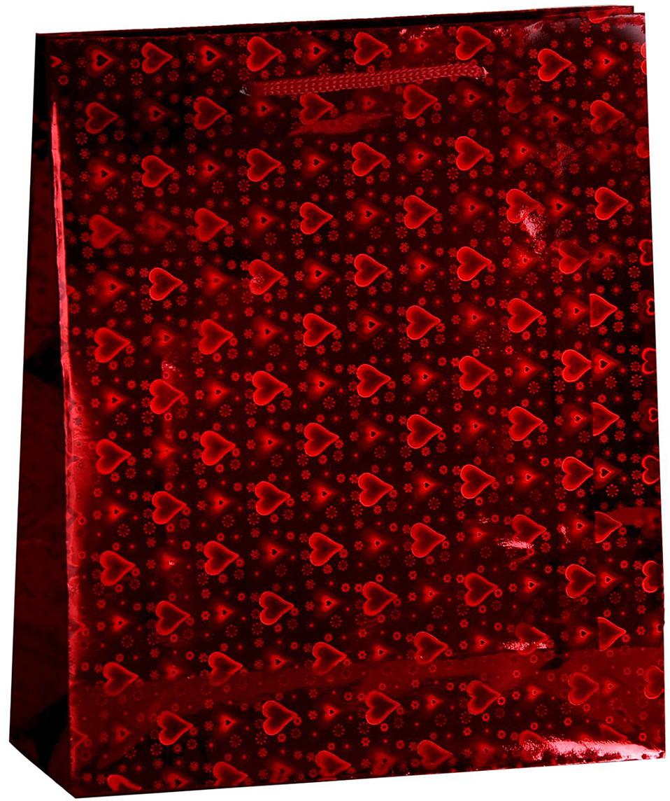 Пакет подарочный Рисунок. Сердечки, голографический, цвет: красный, 23 х 8 х 27 см. 822502822502Любой подарок начинается с упаковки. Что может быть трогательнее и волшебнее, чем ритуал разворачивания полученного презента. И именно оригинальная, со вкусом выбранная упаковка выделит ваш подарок из массы других. Она продемонстрирует самые теплые чувства к виновнику торжества и создаст сказочную атмосферу праздника. Пакет голографический - это то, что вы искали.