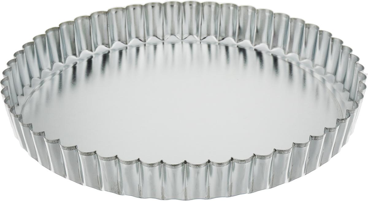 Форма для выпечки Доляна Круг рифленый, со съемным дном, 20 х 2 см830874По-настоящему вкусная выпечка получается только тогда, когда используется качественный кухонный инструмент. Металлическая форма необходима тем, кто хочет готовить самые лучшие бисквиты и кексы. Особенности: съемное дно облегчает извлечение готового блюда; гладкая поверхность упрощает мойку; высокая прочность металла обеспечивает долговечность формы. Форма особенно понравится тем, кто любит готовить выпечку с аппетитной твердой корочкой. Перед применением рекомендуется смазывать изделие небольшим количеством подсолнечного масла.