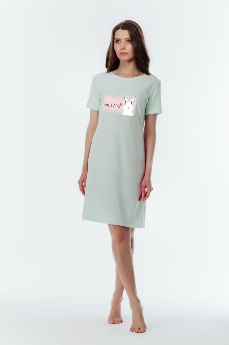 Платье домашнее Melado Tuilde, цвет: светло-зеленый. 8108P-60011.2S-620.441. Размер 468108P-60011.2S-620.441Комфортное и красивое домашнее платье Melado с коротким рукавом, украшенное оригинальным принтом, станет прекрасным предметом домашнего гардероба. Для создания модели использовано полотно самого высокого качества, благодаря чему платье очень приятно к телу и удобно.