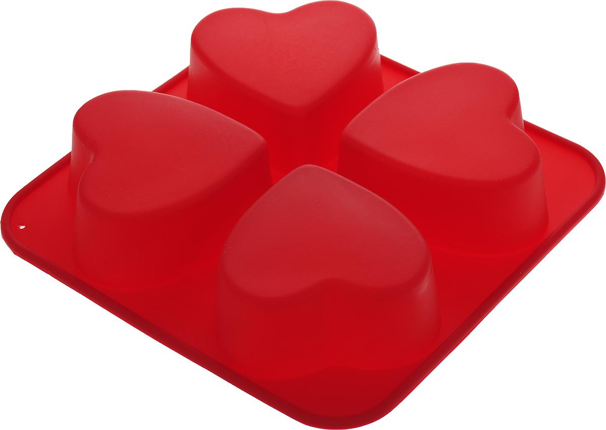 "Форма для выпечки Доляна ""Сердца"", 4 ячейки, цвет: бордовый, 16 х 16 х 3 см"
