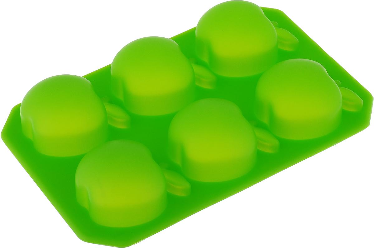 Форма для льда и шоколада Доляна Яблоко, цвет: зеленый, 6 ячеек, 14 х 9 см