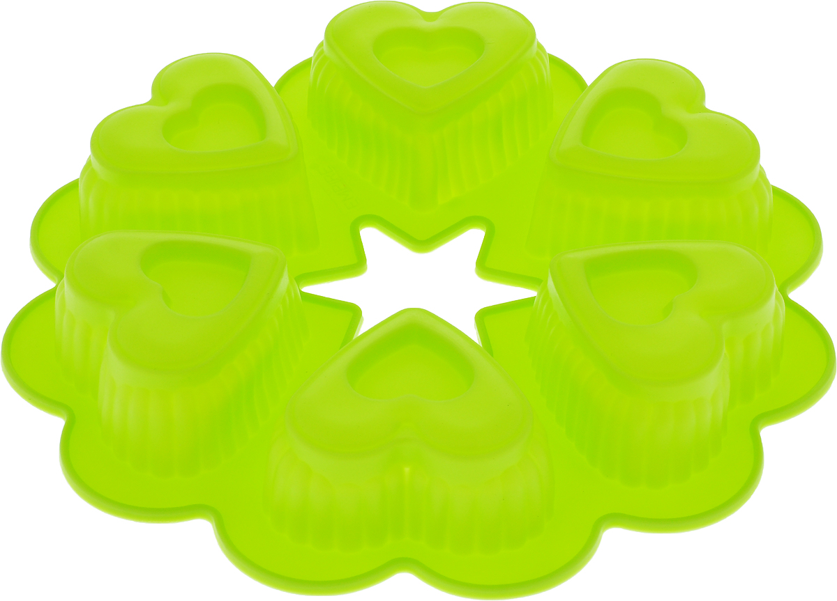 Форма для выпечки Доляна Двойные сердечки, цвет: салатовый, 25 х 4,5 см, 6 ячеек форма для выпечки calve силиконовая цвет салатовый диаметр 30 см