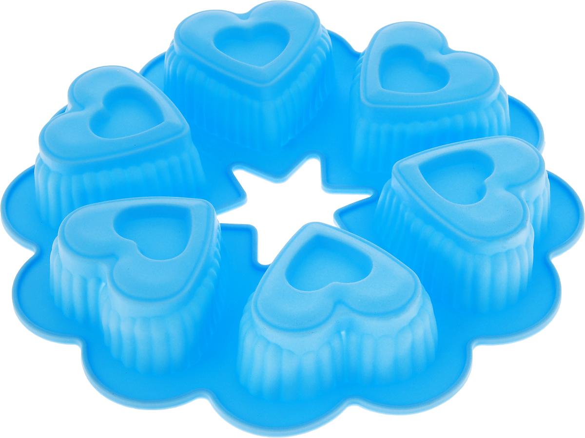 Форма для выпечки Доляна Двойные сердечки, цвет: голубой, 25 х 4,5 см, 6 ячеек