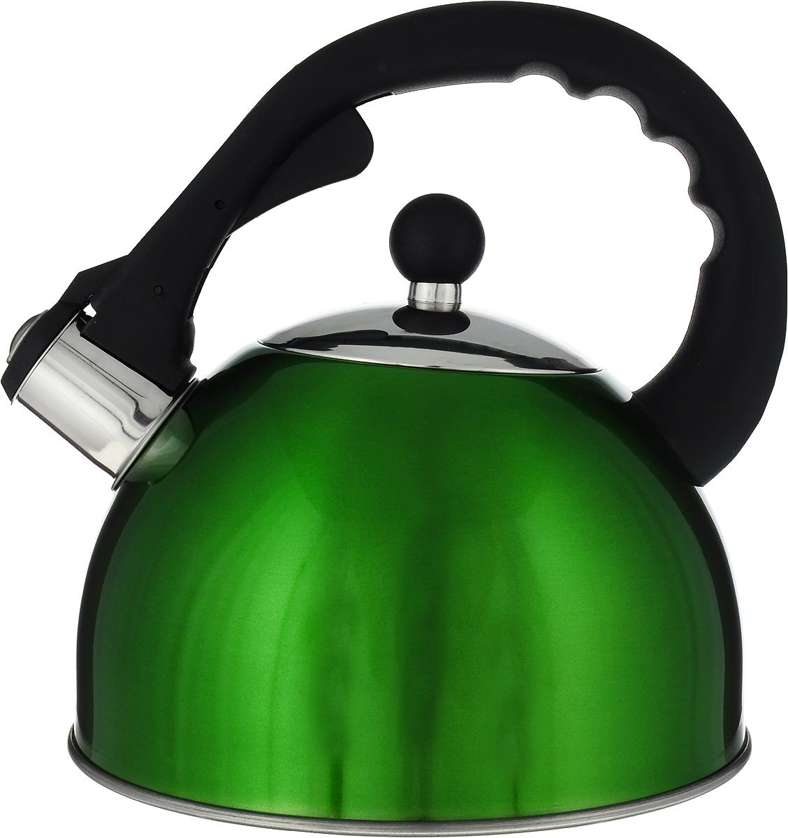Чайник Mayer & Boch, со свистком, цвет: зеленый, 2,7 л. 3333