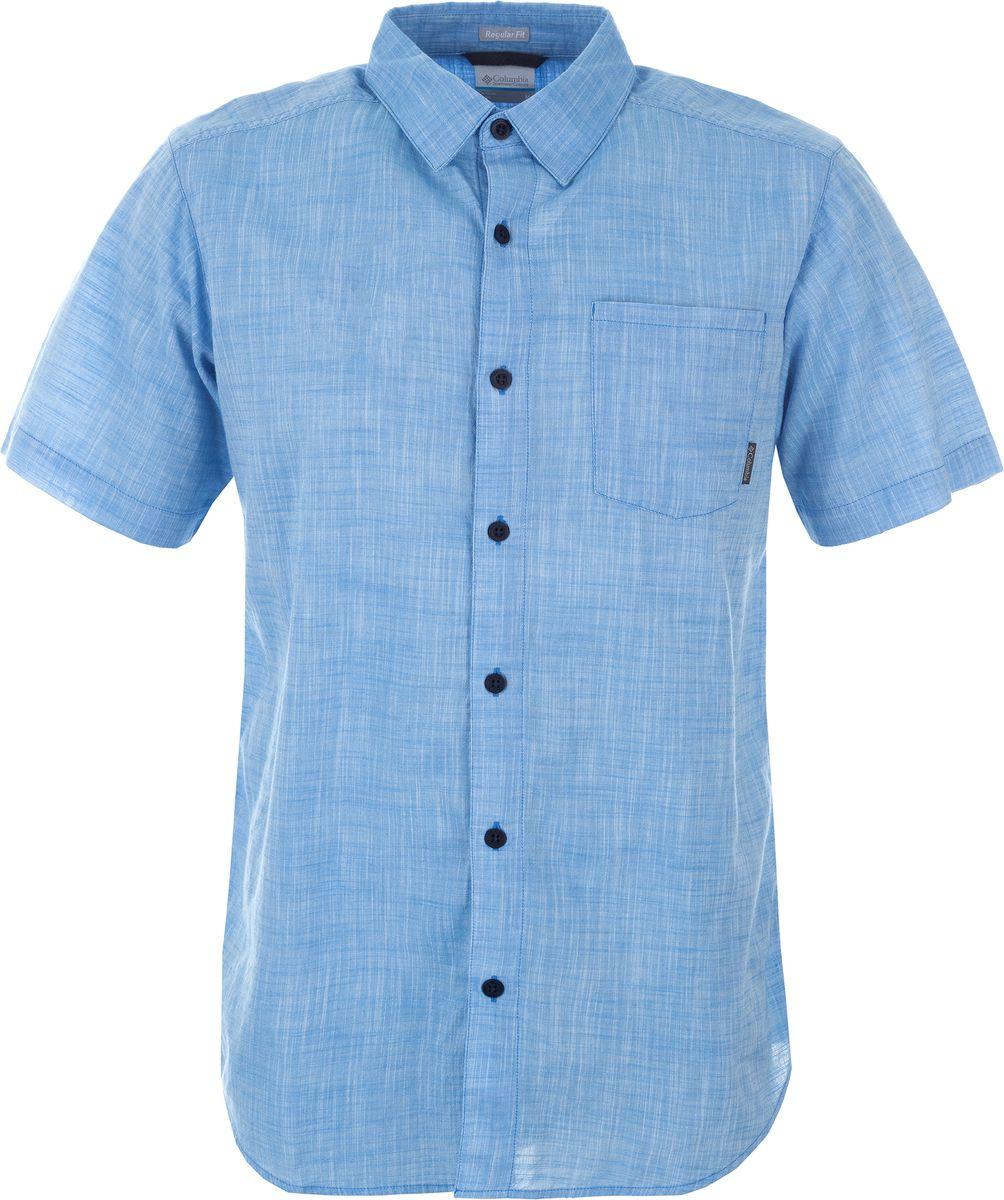 Рубашка мужская Columbia Under Exposure YD SS Shirt, цвет: голубой. 1715221-475. Размер S (44/46)