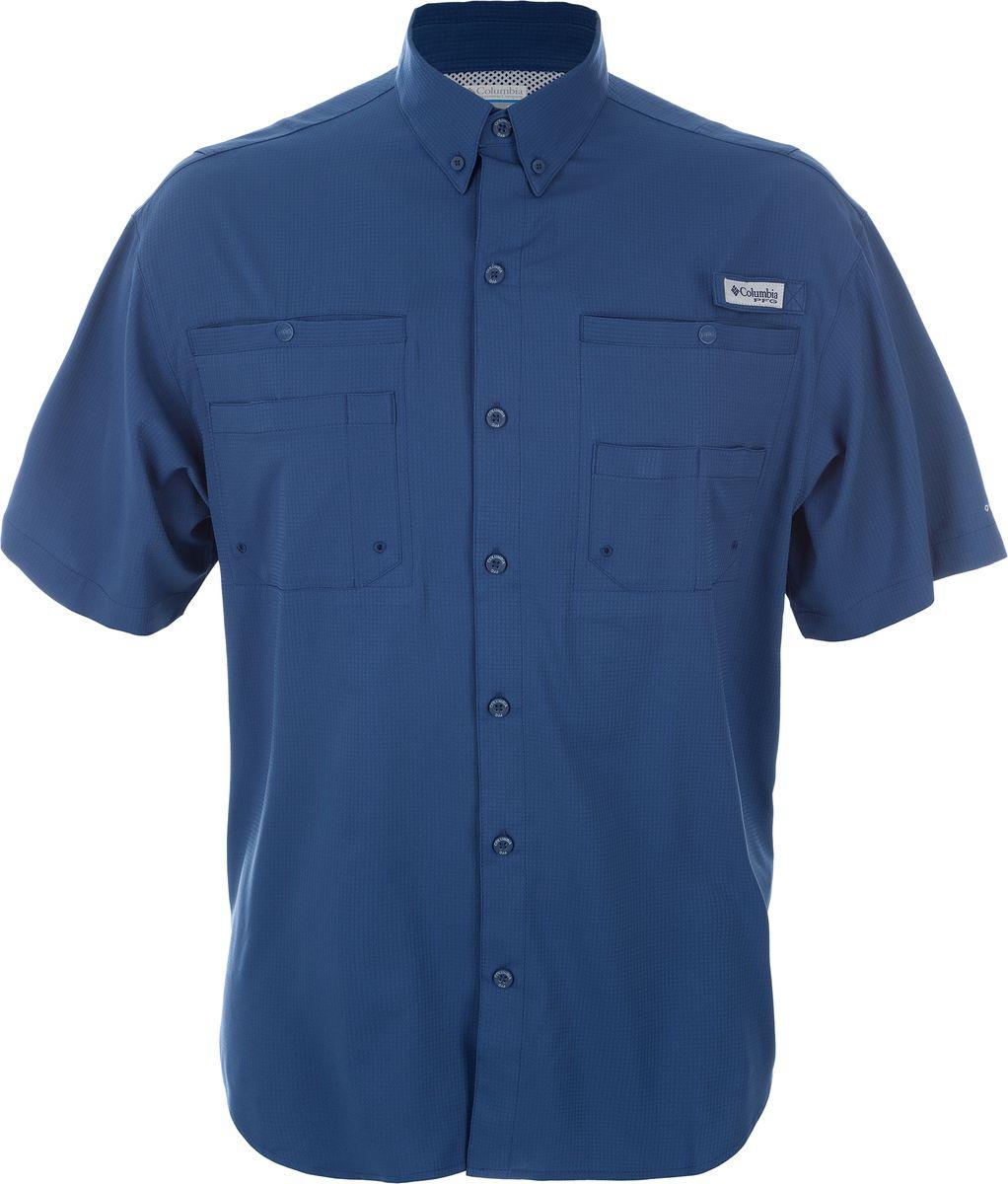 Рубашка мужская Columbia Tamiami II SS Shirt, цвет: синий. 1287051-452. Размер L (48/50)1287051-452Мужская рубашка с коротким рукавом для активного отдыха и туризма выполнена из смесовой ткани. В конструкции предусмотрена дополнительная вентиляция. Рубашка, с отложным воротничком, застегивается на пуговицы по всей длине. На груди расположены накладные карманы.Такую модную рубашку вы сможете комбинировать с любыми элементами гардероба и будете чувствовать себя в ней уютно и комфортно.