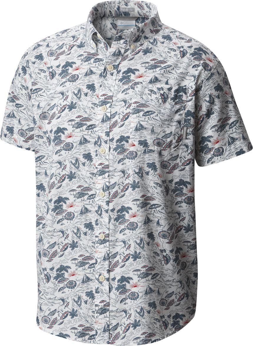 Рубашка мужская Columbia Rapid Rivers Printed SS Shirt, цвет: белый. 1768931-100. Размер XL (52/54)