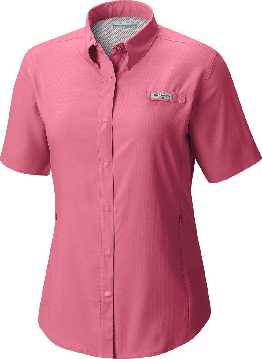 Рубашка женская Columbia Tamiami II SS Shirt, цвет: розовый. 1275711-674. Размер XL (50)1275711-674Женская рубашка с коротким рукавом для активного отдыха и туризма выполнена из высококачественного полиэстера. В конструкции предусмотрена дополнительная вентиляция. Рубашка с закругленным низом и отложным воротничком застегивается на копки по всей длине.
