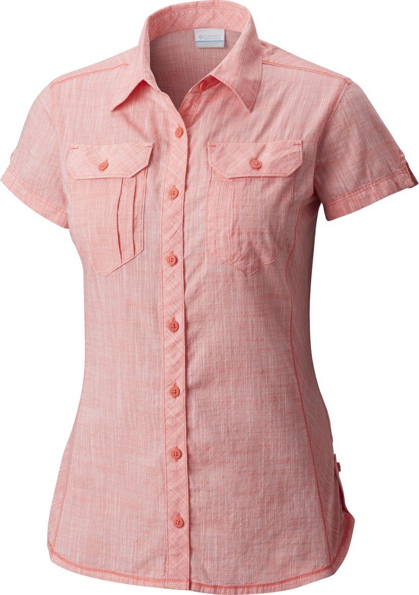 Рубашка женская Columbia Camp Henry SS Shirt, цвет: розовый. 1450311-614. Размер XS (42) рубашка женская columbia silver ridge plaid ii ss shirt цвет голубой розовый 1714651 436 размер m 46