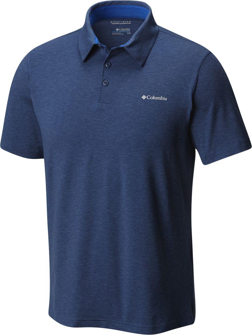 Поло мужское Columbia Tech Trail Polo, цвет: синий. 1768701-469. Размер XXL (56/58) рубашка мужская columbia silver ridge lite ss shirt цвет синий 1654311 469 размер xxl 56 58