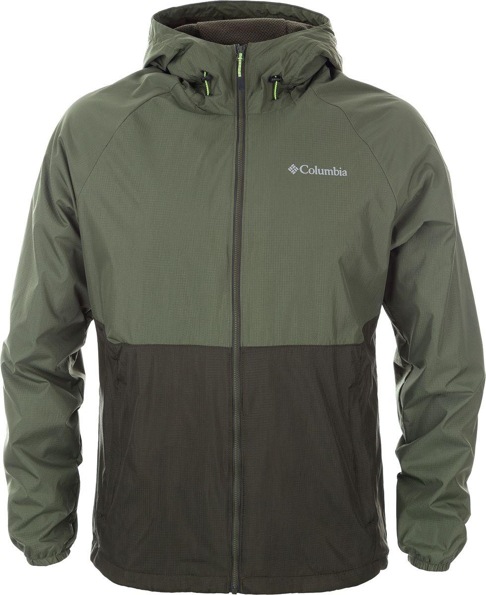 Ветровка мужская Columbia Spire Heights Jacket, цвет: зеленый. 1773861-213. Размер XXL (56/58) куртка мужская columbia ridgestone hooded jacket m цвет черный 1737611 010 размер xxl 56 58