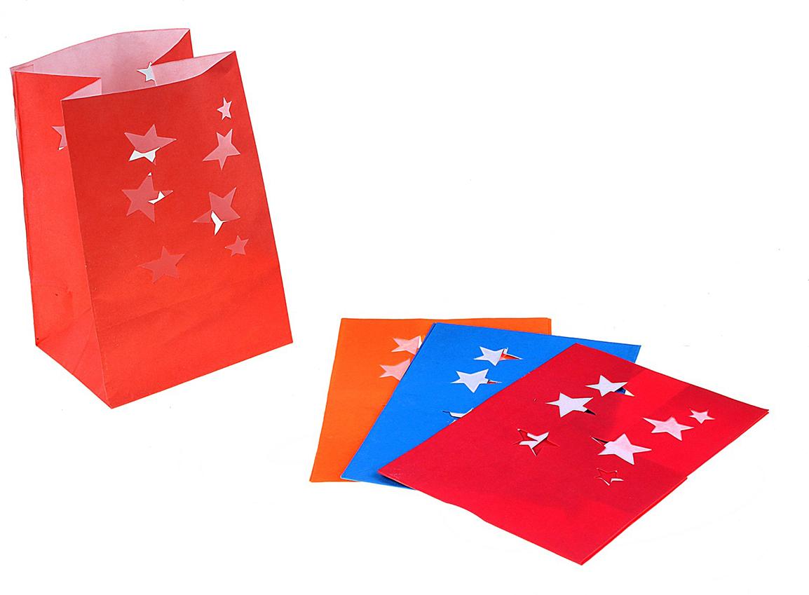 Пакет подарочный Звезды, светящийся, цвет: мультиколор, 11 х 16 см. 324310324310Данное изделие представляет собой бумажный пакет без ручек, обработанный специальной огнеупорной пропиткой. Секрет в том, что свой истинный эффект Огненный Бумажный Пакет приобретает после того, как на его дно опускается свеча. При заглушенном свете, например, при создании интимной и праздничной обстановки, бумажный пакет подсвечивается изнутри. Получается потрясающий эффект!