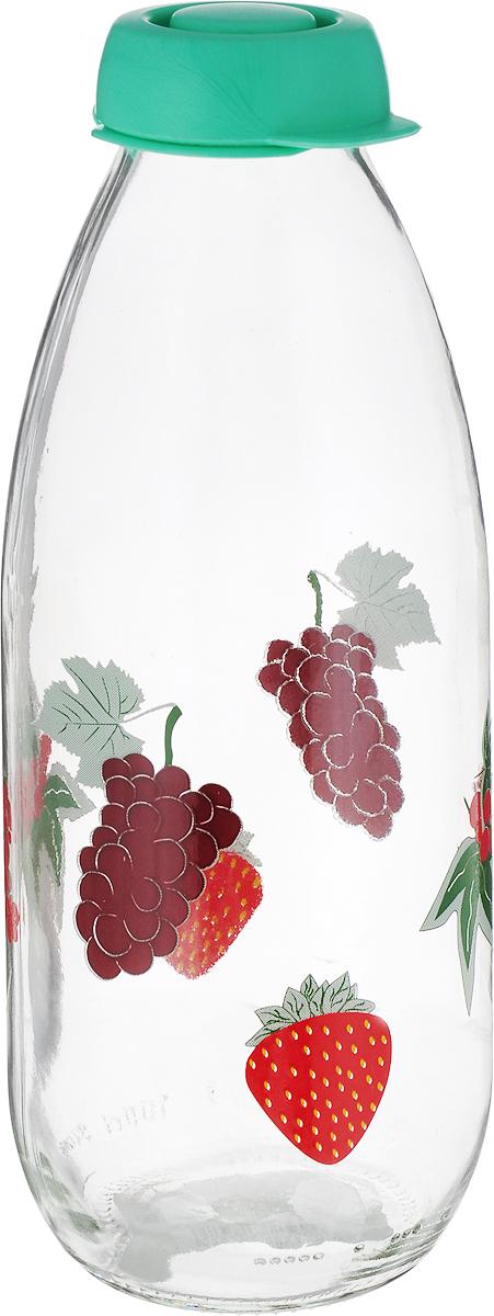 Бутыль для молока Remmy Home Ягоды, цвет: прозрачный, мятный, 1 л500022_прозрачный, мятный/ягоды