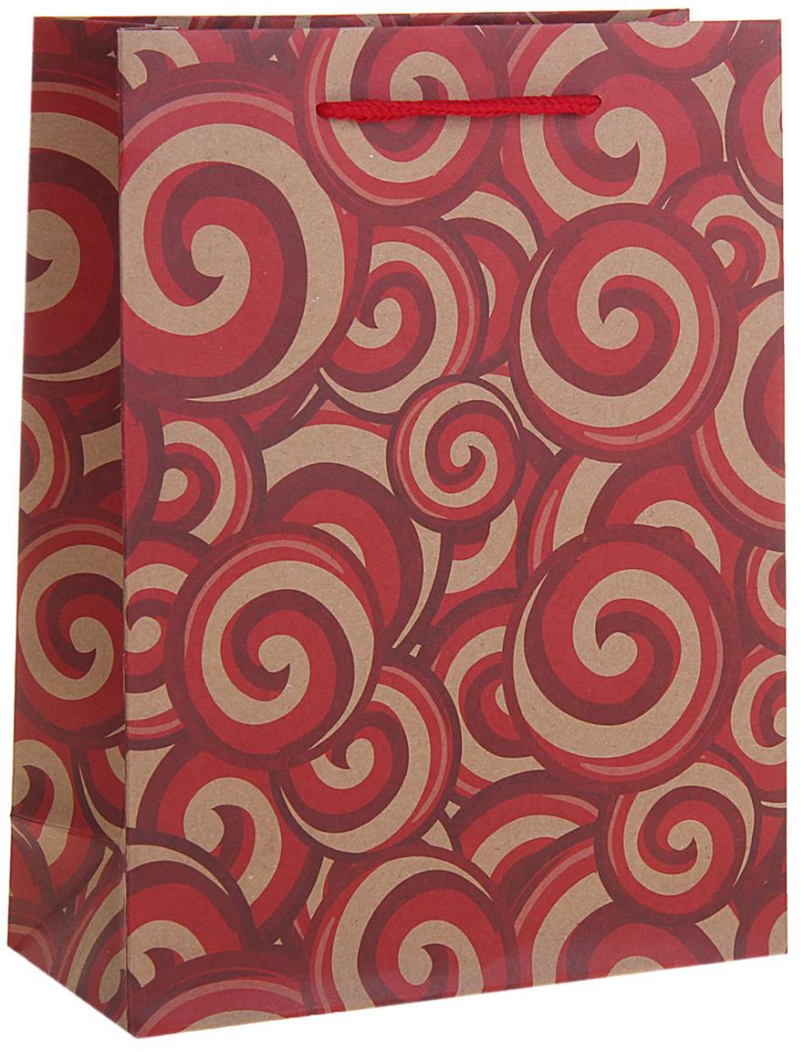 Пакет подарочный Завитки, цвет: красный, 19 х 8 х 24 см. 12583751258375Любой подарок начинается с упаковки. Что может быть трогательнее и волшебнее, чем ритуал разворачивания полученного презента. И именно оригинальная, со вкусом выбранная упаковка выделит ваш подарок из массы других. Она продемонстрирует самые теплые чувства к виновнику торжества и создаст сказочную атмосферу праздника. Пакет-крафт Завитки - это то, что вы искали.