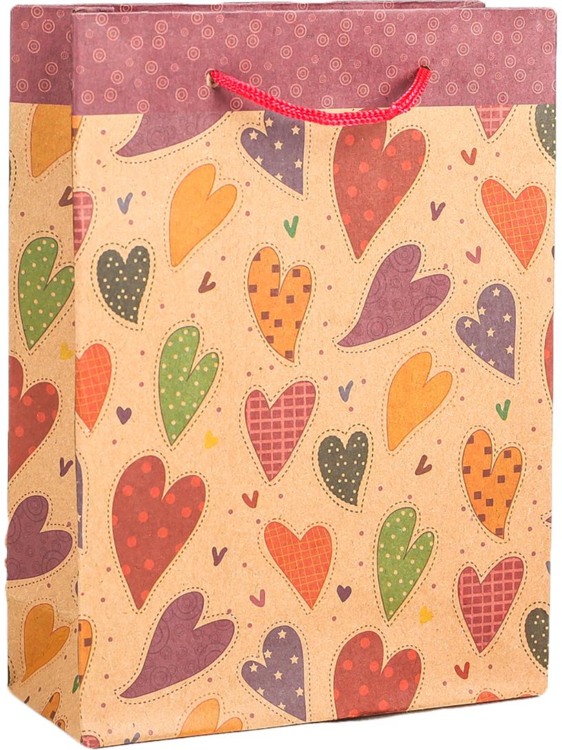 Пакет подарочный Разноцветные сердца, цвет: мультиколор, 24 х 33 х 8 см. 2790944
