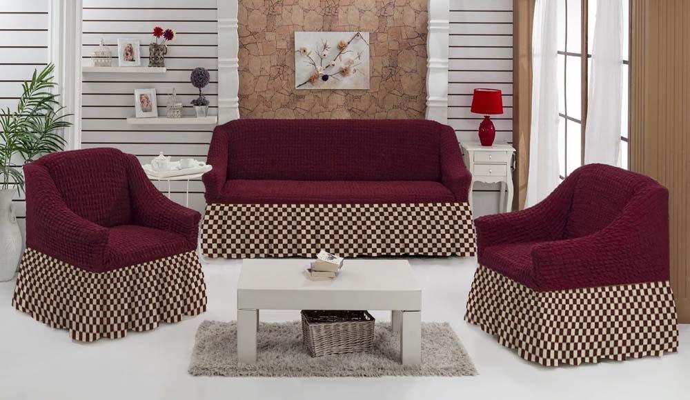 Чехол для углового дивана МарТекс Шах-Мат, цвет: бордовый. 05-0794-3