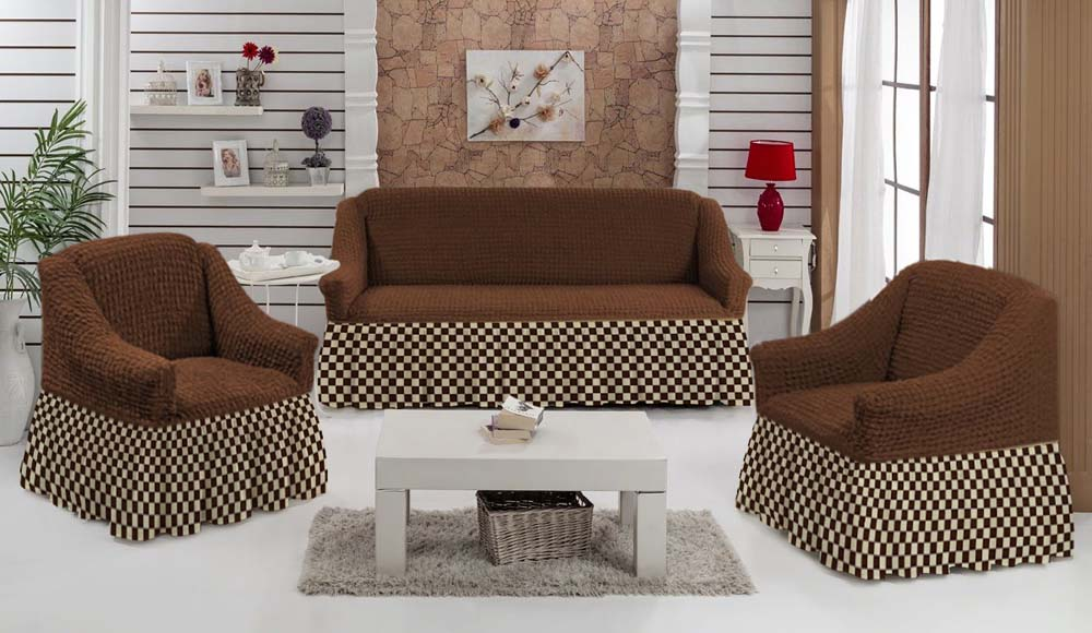 Чехол для углового дивана МарТекс Шах-Мат, цвет: коричневый, . 05-0795-3