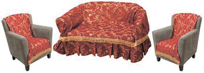 Набор чехлов для дивана и кресел МарТекс, 3 предмета. 05-0747-205-0747-2Гобеленовые полотна для покрывал МарТекс изготавливаются из качественного хлопка, с добавлением полиэстера. Ткань очень плотная, прочная, отлично сохраняет форму и в то же время мягкая и приятная на ощупь. Пестрый рисунок достигается путем переплетения нитей разных цветов, а не путем окрашивания готового полотна. Состав гобелена для повышения износостойких качеств производители добавляют до 50% полиэстера.Достоинства: - экологичность. Преобладание натуральных волокон в составе гобеленового полотна позволяет обеспечить покрывалу хорошую воздухопроницаемость, гигроскопичность и достойные гигиенические свойства.- простота ухода. Покрывало не требует частых стирок, не боится солнечного света, не выцветает и не линяет; - не требует подкладки и уплотнителя. Ткань сама по себе достаточно жесткая, хорошо держит форму и помогает сгладить неровности; - износостойкость. Долговечность обеспечивает особая техника плетения нитей, а добавление синтетических волокон помогает увеличить срок службы изделия. Покрывала из гобелена благодаря своей пестроте материал сам по себе не нуждается в частой стирке. Состав: 50% хлопок, 50% полиэстер,Уход: стирка 30С в деликатном режиме, глажка в режиме хлопка. В комплект входят 2 чехла 70 x 140 см и чехол 150 x 200 см.