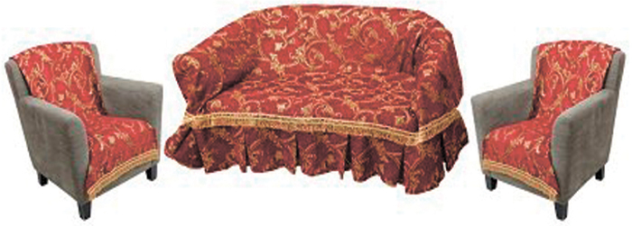 Набор чехлов для дивана и кресел МарТекс, 3 предмета. 05-0748-305-0748-3Гобеленовые полотна для покрывал МарТекс изготавливаются из качественного хлопка, с добавлением полиэстера. Ткань очень плотная, прочная, отлично сохраняет форму и в то же время мягкая и приятная на ощупь. Пестрый рисунок достигается путем переплетения нитей разных цветов, а не путем окрашивания готового полотна. Состав гобелена для повышения износостойких качеств производители добавляют до 50% полиэстера.Достоинства: - экологичность. Преобладание натуральных волокон в составе гобеленового полотна позволяет обеспечить покрывалу хорошую воздухопроницаемость, гигроскопичность и достойные гигиенические свойства.- простота ухода. Покрывало не требует частых стирок, не боится солнечного света, не выцветает и не линяет; - не требует подкладки и уплотнителя. Ткань сама по себе достаточно жесткая, хорошо держит форму и помогает сгладить неровности; - износостойкость. Долговечность обеспечивает особая техника плетения нитей, а добавление синтетических волокон помогает увеличить срок службы изделия. Покрывала из гобелена благодаря своей пестроте материал сам по себе не нуждается в частой стирке. Состав: 50% хлопок, 50% полиэстер,Уход: стирка 30С в деликатном режиме, глажка в режиме хлопка.