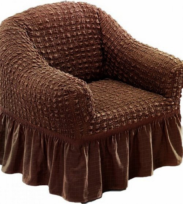 Чехол для кресла МарТекс, цвет: коричневый. 05-0726-305-0726-3Чехол для кресла МарТекс из эластичной ткани с эффектом жатка, выполнен из высококачественного полиэстера и хлопка с красивым рельефом. Такие чехлы изысканно дополнят интерьер вашего дома. Изделие прорезинено со всех сторон и оснащено закрывающей оборкой. Чехол для кресла МарТекс придаст вашей мебели новый внешний вид. Каждый элемент интерьера нуждается в уходе и защите. В большинстве случаев потертости появляются на диванах и креслах. В набор входит чехол для трехместного дивана и два чехла для кресла. Чехлы изготовлены из 60% полиэстера и 40% хлопка. Такой материал прекрасно переносит нагрузки, долго не стареет и его просто очистить от грязи.Чехол создан для тех, кто не планирует покупать новую мебель каждый год. Чехлы можно постирать в стиральной машине на деликатном режиме стирки. Он идеально подойдет для тех, кто хочет защитить свою мебель от постоянных воздействий. Этот чехол, благодаря прочности ткани, станет идеальным решением для владельцев домашних животных. Кроме того, состав ткани гипоаллергенен, а потому безопасен для малышей или людей пожилого возраста. Такой чехол отлично впишется в любой интерьер. Чехол послужит не только практичной защитой для вашей мебели, но и обновит интерьер без лишних затрат.Кресло, размеры: Ширина посадочного места: 70-80 см. Ширина подлокотников: 25-35см. Глубина посадочного места: 70-80 см. Высота юбки: 35-45 см. Высота спинки: 80-90 см.
