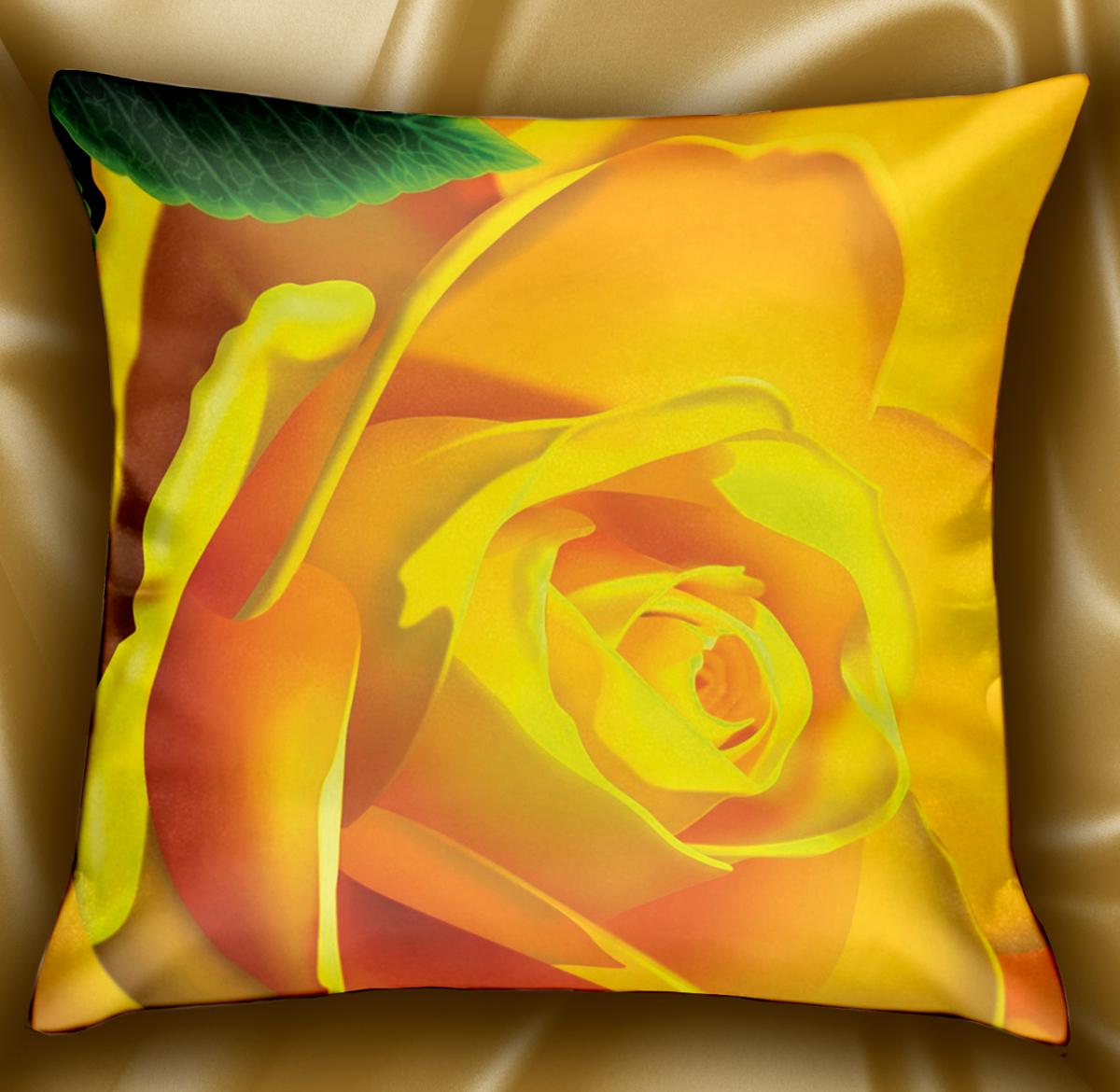 Подушка декоративная МарТекс Линет, цвет: желтый, 45 х 45 см. 16-1241-1