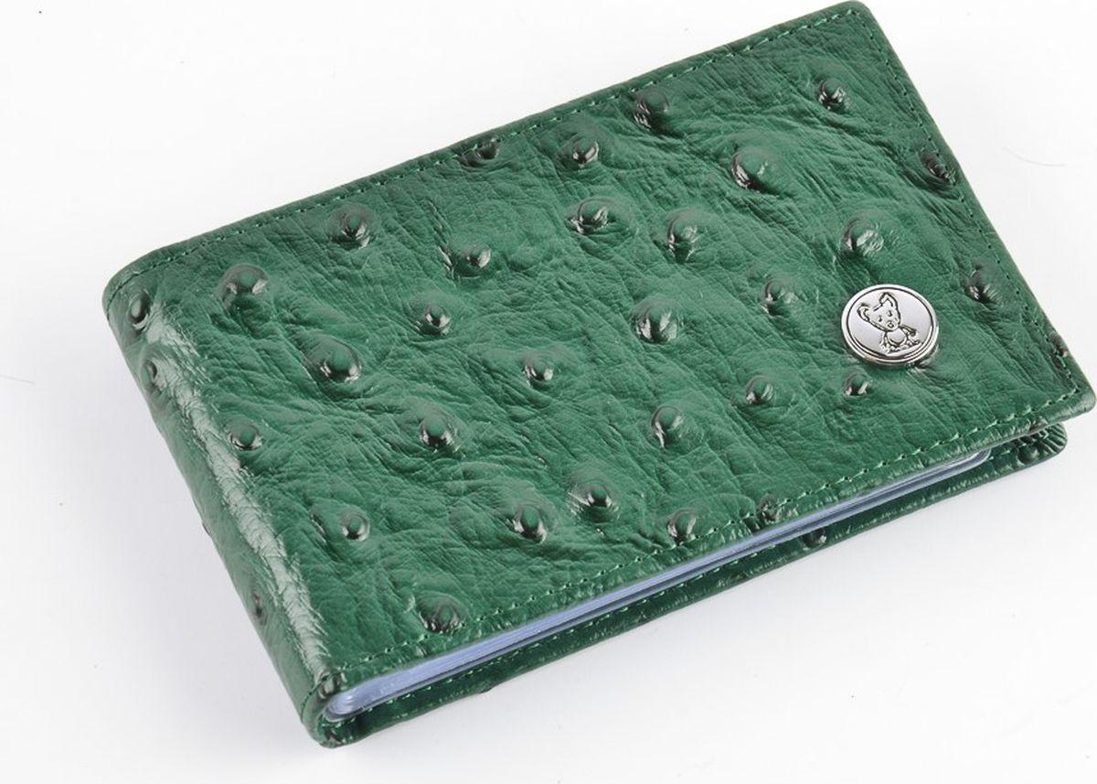 Визитница горизонтальная женская Topo Fortunato Страус, цвет: зеленый. 1274-101 визитница женская premier цвет темно зеленый 193681