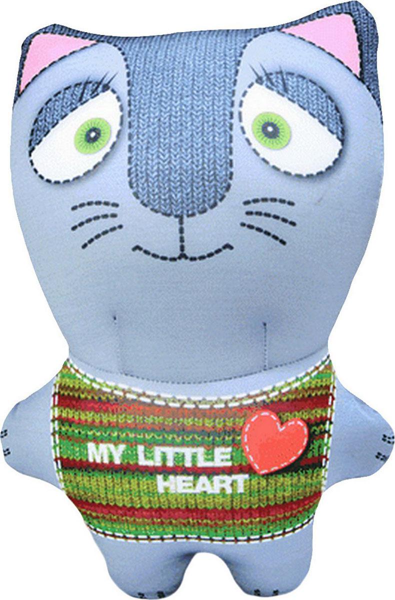 """Подушка-игрушка антистрессовая Штучки, к которым тянутся ручки """"Звери вязаные. Кот"""", цвет: серый, 30 см"""