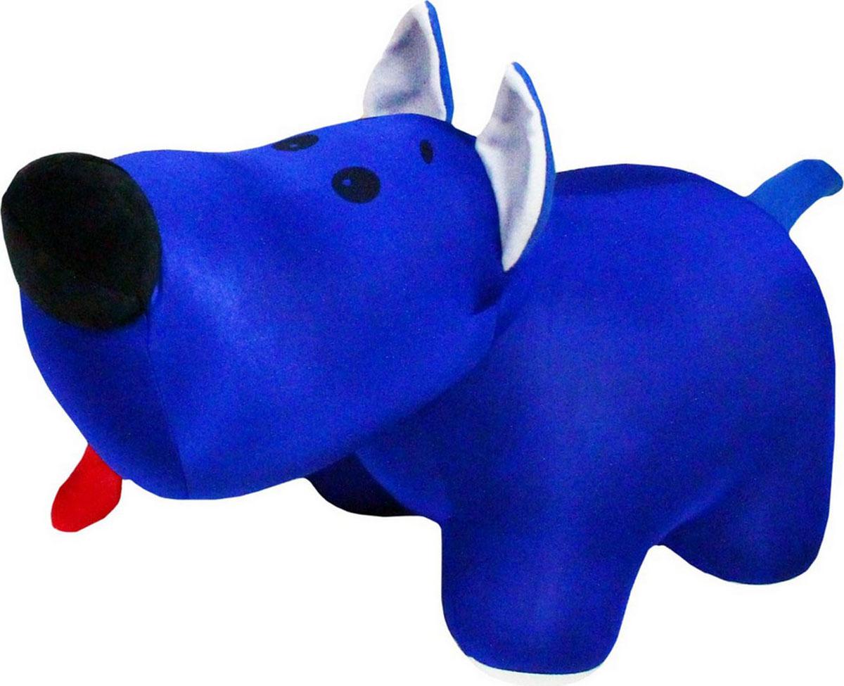 """Подушка-игрушка антистрессовая Штучки, к которым тянутся ручки """"Скотч терьер Тобби"""", цвет синий, 33 см"""