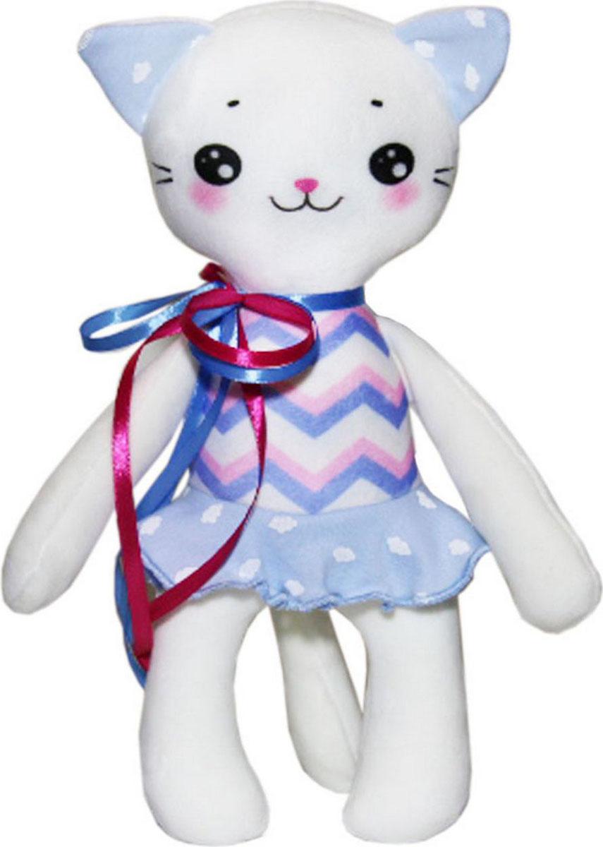 """Подушка-игрушка антистрессовая Штучки, к которым тянутся ручки """"Кисонька"""", цвет: белый голубой, 30 см"""