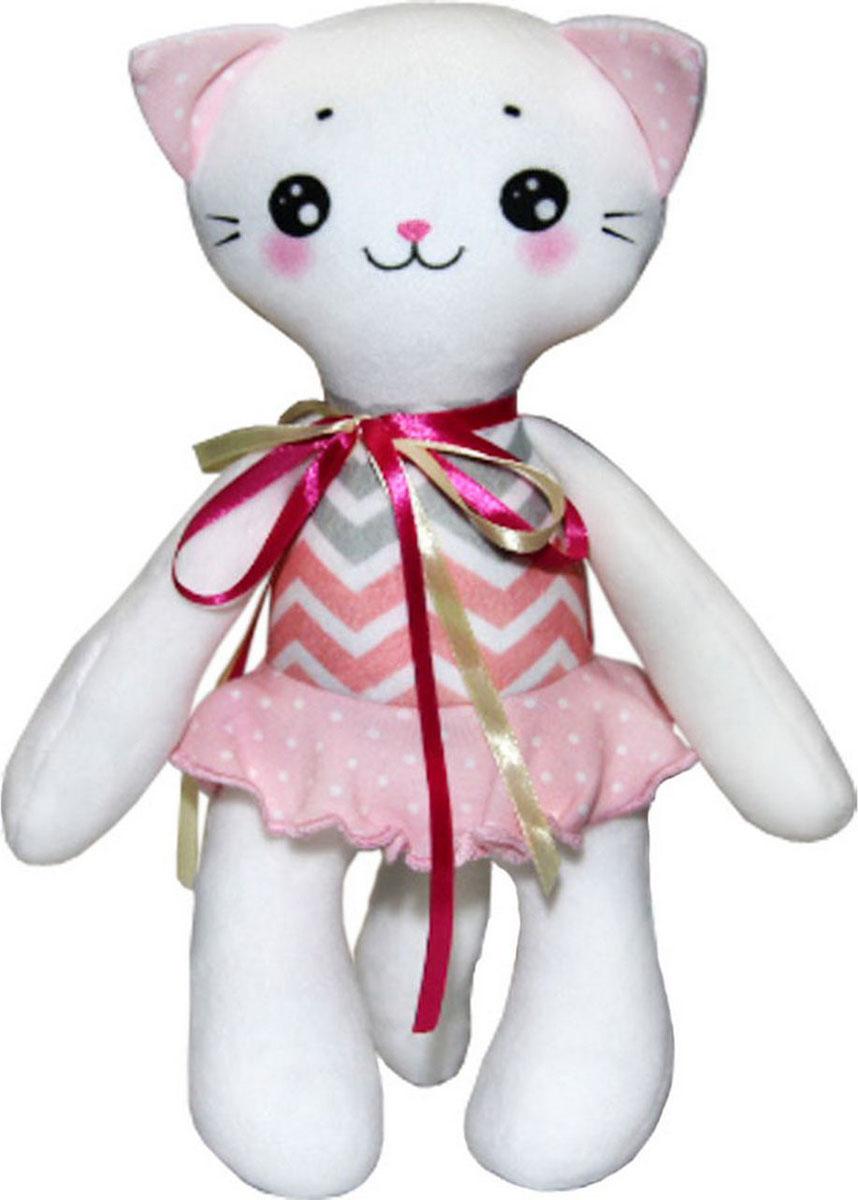 """Подушка-игрушка антистрессовая Штучки, к которым тянутся ручки """"Кисонька"""", цвет: белый розовый, 30 см"""