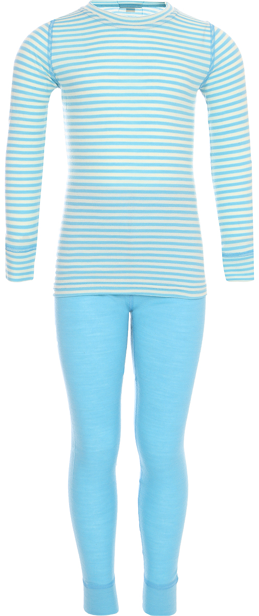Комплект термобелья детский Dr. Wool, цвет: светло-голубой. DWKL 30102. Размер 116/122DWKL 30102Однослойный комплект детского термобелья Dr. Wool изготавливается из натуральной шерсти австралийского мериноса. Белье экологично и безопасно для детей. Белье можно носить круглый год: структура волокна поддерживает естественный микроклимат тела. Термобелье не препятствует активности малыша, не сковывает движений. При этом белье плотно облегает тело, а плоские швы, мягкие манжеты и резинка не доставляют дискомфорта. Материал абсорбирует пар и влагу, предотвращая размножение бактерий.