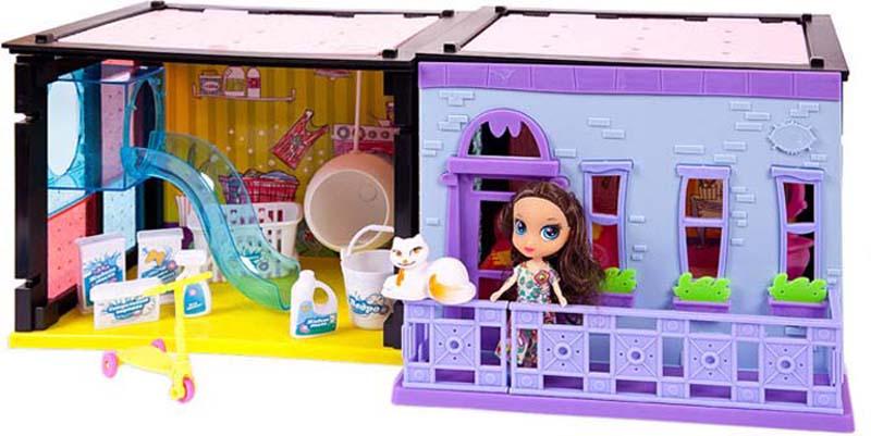 ABtoys Игровой набор с куклой Модный дом Спальня и прачечная 70 деталей