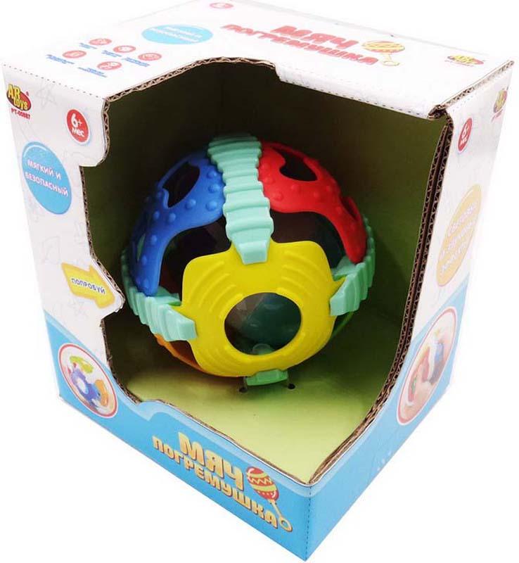 ABtoys Мяч погремушка 2 в 1 со световыми и звуковыми эффектами машинки hti паровозик roadsterz синий с вагоном звуковыми и световыми эффектами
