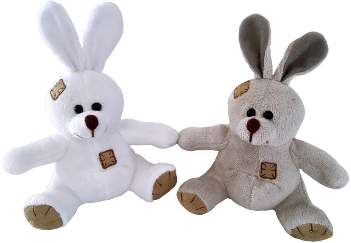 ABtoysМягкая игрушка Зайчик с заплатками цвет коричневый 12 см ABtoys